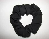 Black Cotton Fabric Hair Scrunchie, women's accessories, womans scrunchies, gifts for her, country western, girls hair ties, goth dark