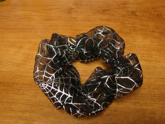Fancy Sheer Black Halloween Scrunchie with Shiney Silver Spider Webs