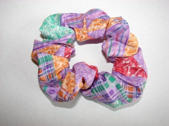Country Purple Patchwork plaid Fabric Hair Scrunchie - cottage chic scrunchies purple, orange, green, red, white-pretty and soft