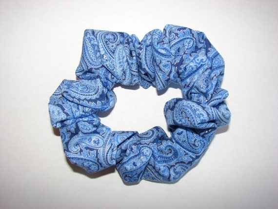 Blue Paisley Fabric Hair Scrunchies, women's accessories, fancy scrunchies, womans gifts, florals, victorian ties, dressy fancy accessory