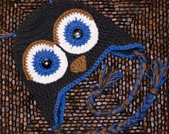 Owl hat with earflaps and tassels