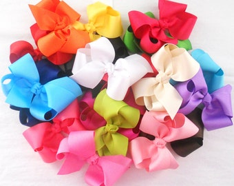 "4-Bows Hair Bow Set Girls Bows 4"" Medium Boutique Hair Bows Infant Bows Baby Hair Bows Baby Bows Toddler Bows Baby Hair Clips Girls Hair Bow"