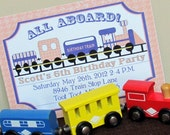 Printable 5X7 Train Birthday Party Invitation...by Party Like Paula