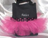 Tutu Dance Bag, Canvas Tote Bag, Hot Pink and Black Bag - FREE PERSONALIZATION