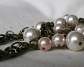 Louise - Long Glass Pearl Spiral Chain Necklace