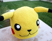 Pikachu -ish Hat : Totally Cute Japanese Pokemon -ish Cartoon Crochet Beanie Hat