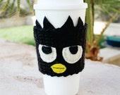 Badtz Maru Inspired Coffee Travel Mug Cup Cozy: Sanrio -ish Crochet Knit Cozy Sleeve
