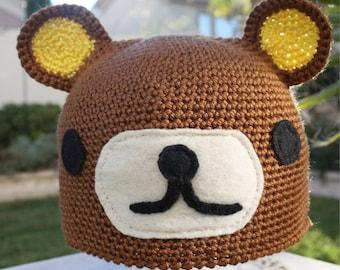 Rilakkuma -ish Bear Hat : Kawaii  San-X Anime Japanese -ish Handmade Crochet Beanie Hat