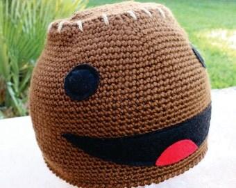 Sackboy Inspired Hat: LittleBigPlanet LBP -ish Cartoon Kawaii Handmade Crochet Beanie Hat