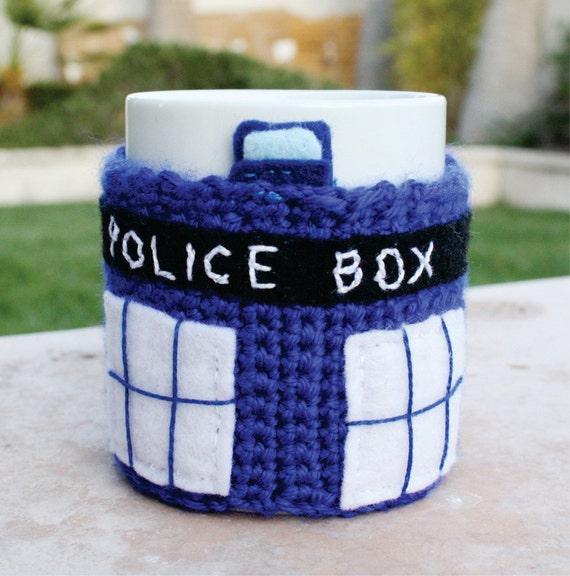 TARDIS Police Box Time Machine Spacecraft Inspired Coffee Mug Tea Cup Cozy: Doctor Who /  Dr. Who -ish Crochet Knit Sleeve