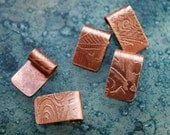Copper Pendant Bails - handmade findings - etched cabochon bails x6