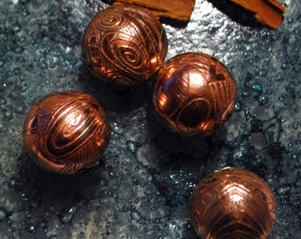 Handmade Copper beads - spiral copper beads - Etched copper beads - x4