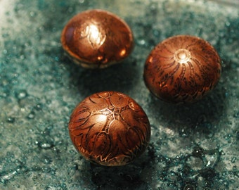 Handmade Copper beads - Chinese Flower Mandala copper beads - Etched copper beads - antique finish - x3