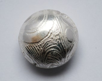 Handmade Sterling Silver bead - spiral silver bead - Etched sterling silver bead - x1
