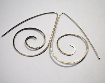 Large sterling silver spiral earring wires - handmade ear wires - sterling silver findings - x1 pairs