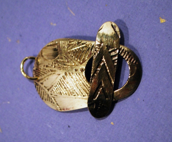 brass toggle clasp - pattern clasp - handmade