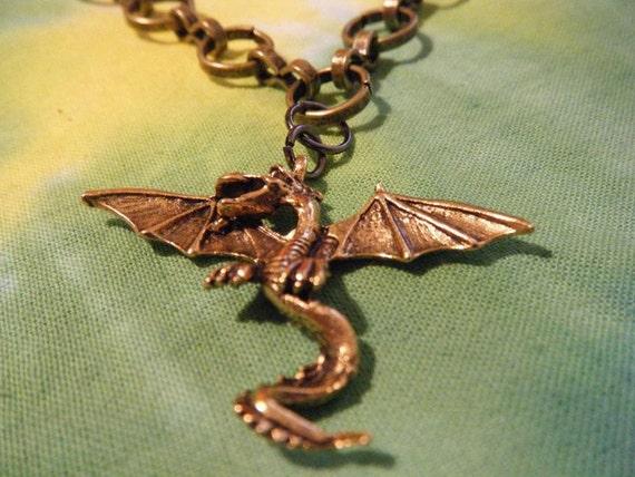VINTAGE Brass Dragon Necklace NYC BlueAgoo