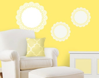 Children Wall Decals - Set of 3 Vintage Doily Nursery Wall Decals - Nursery Decor