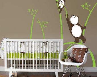 Panda Wall Decal - Panda Bamboo Nursery Art - Vinyl Wall Decals