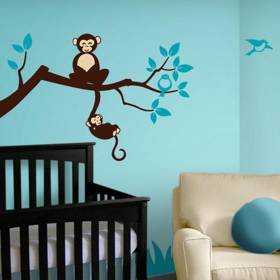 Tree Branch Monkey Nursery Vinyl Wall Decals - Tree Decal - Jungle Nursery Theme