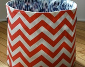 Medium Fabric Storage Bucket - Coral and White Chevron with Navy and Gray Ikat
