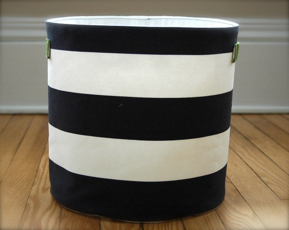 Medium Fabric Storage Bucket - Navy and White Stripes