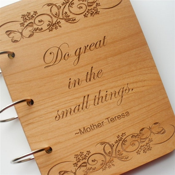 Art Journal - Do Great in the Small Things Mother Theresa - Watercolor Pages, Refillable