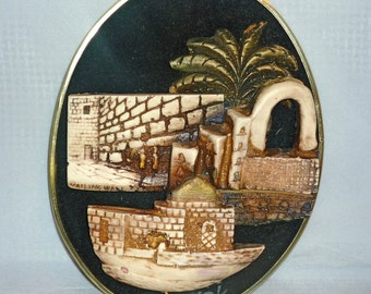 Vintage Judaica 3-Dimensional sculpture of Wailing Wall on black velvet, wall decor, signed
