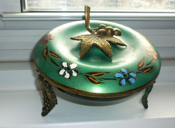 Judaica Vintage lidded teal brass and metal dish with grape feet with  brass grape & leaf handle