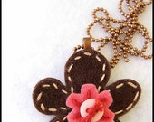 Pink and Brown Felt Pendant with Hand Embroidery