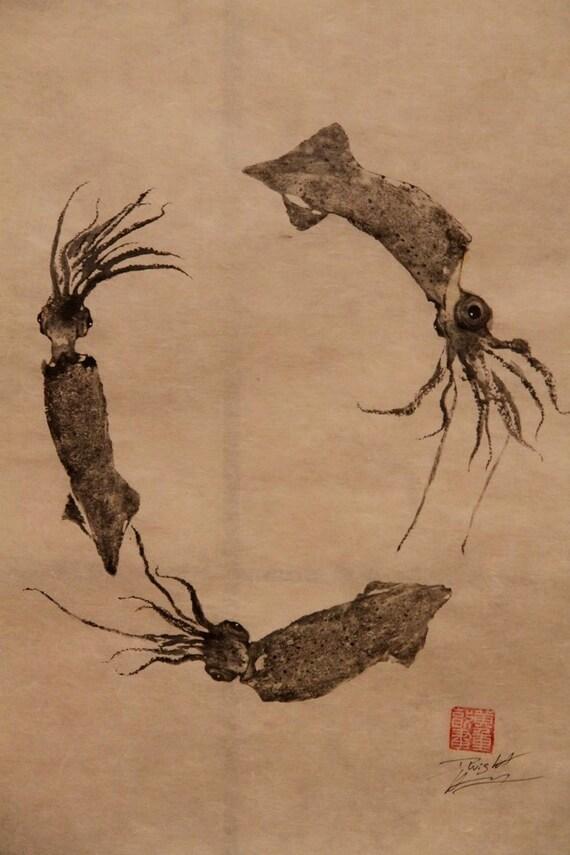 SQUID WREATH (ika) original GYOTAKU - traditional Japanese fish art by dowaito