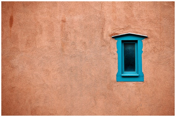southwest home office wall decor, FREE SHIPPING, fine art photograph, window onto santa fe, complimentary colors, turquoise & tangerine