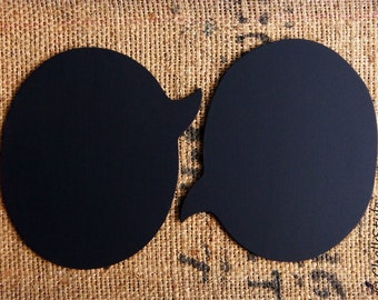 Chalkboard Speech Bubbles  -- Set of Two Large Sturdy Wooden Oval Chalkboards, Photo Props for Wedding