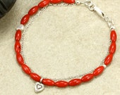 Red Coral Beaded Bracelet with Sterling Silver Chain and Hill Tribe Silver Heart Charm, Coral Bracelet, Valentine's Day Gift