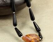 Onyx Teardrop Necklace with Volcano Quartz, Statement Necklace, Orange Necklace, Black Necklace, Onyx Necklace