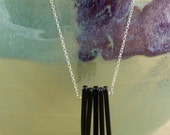Black Spike Necklace with Sterling Silver Chain, Chain Necklace, Pendant Necklace, Black Necklace