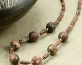 Leopardskin Jasper Necklace with Sterling Silver, Southwestern Necklace, Silver Necklace, Red Necklace, Black Necklace