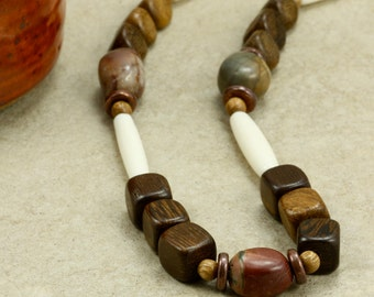 Wood, Hairpipe, and Jasper Necklace, Southwestern Necklace, Red Creek Jasper, Wood Bead Necklace, Brown Necklace
