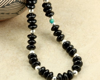 Black Onyx Necklace with Sterling Silver Beads, Strand Necklace, Southwestern Necklace, Chunky Necklace
