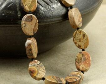 Leopardskin Jasper Necklace, Strand Necklace, Chunky Necklace, Tan, Black