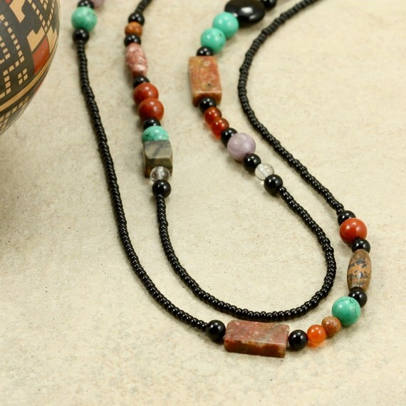 Long Seed Bead and Stone Strand Necklace