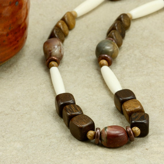 Wood, Hairpipe, and Jasper Necklace, Strand Necklace, Southwestern