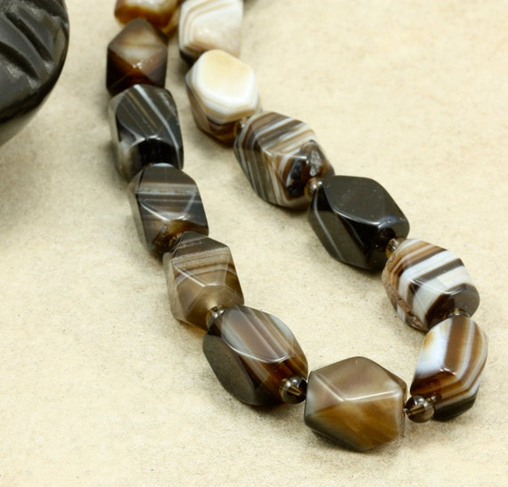 Striped Agate Necklace with Brown Smoky Quartz, Strand Necklace, Chunky Necklace
