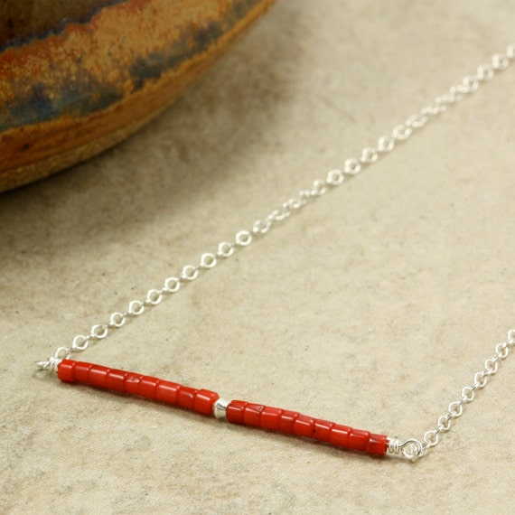 Red Coral Bar and Sterling Silver Chain Necklace