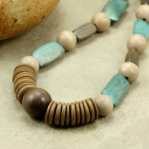 Wood Bead Strand Necklace in Teal and Taupe, Chunky Necklace