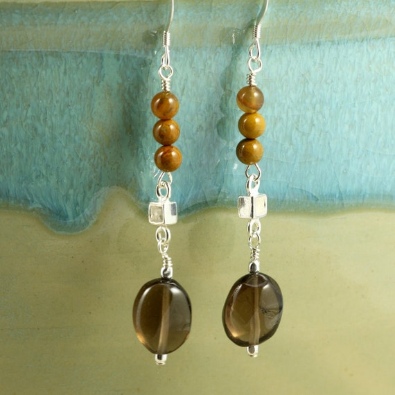 Brown Smoky Quartz and Wooden Agate Drop Earrings with Sterling Silver, Dangle Earrings