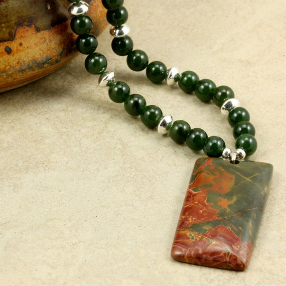 "SALE Picasso Jasper Pendant, Malaysia ""Jade,"" and Sterling Silver Necklace, Dark Green, Dark Red"