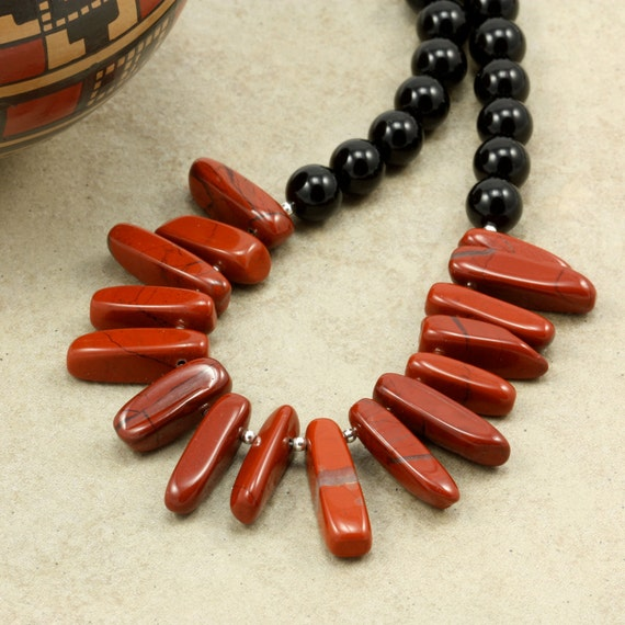 Onyx and Jasper Necklace, Strand Necklace, Large Red Jasper Chips, Black Onyx, Chunky Necklace