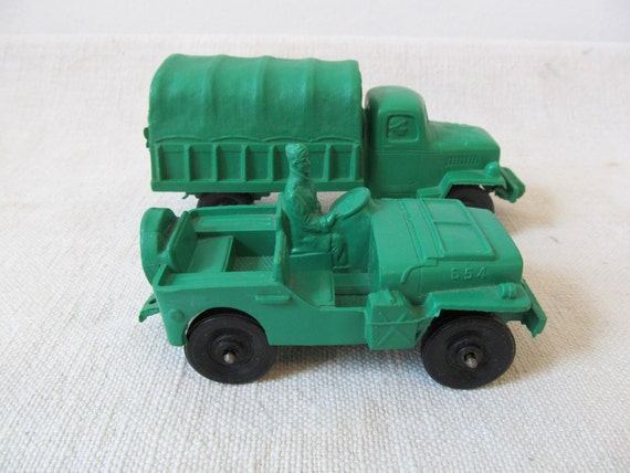 Vintage Auburn Rubber Military Truck and Jeep