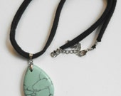 Recycled Tshirt Pendant Necklace - Black Tshirt Yarn with Ceramic Blue/Teal Pendant